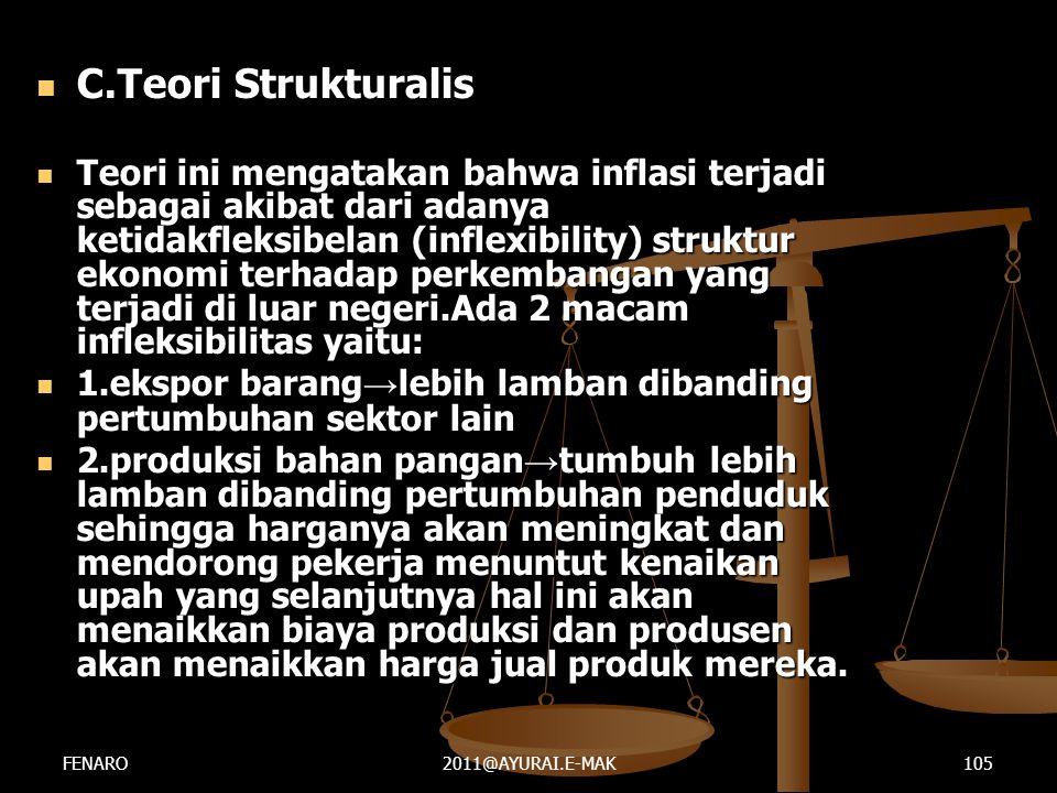  C.Teori Strukturalis  Teori ini mengatakan bahwa inflasi terjadi sebagai akibat dari adanya ketidakfleksibelan (inflexibility) struktur ekonomi ter