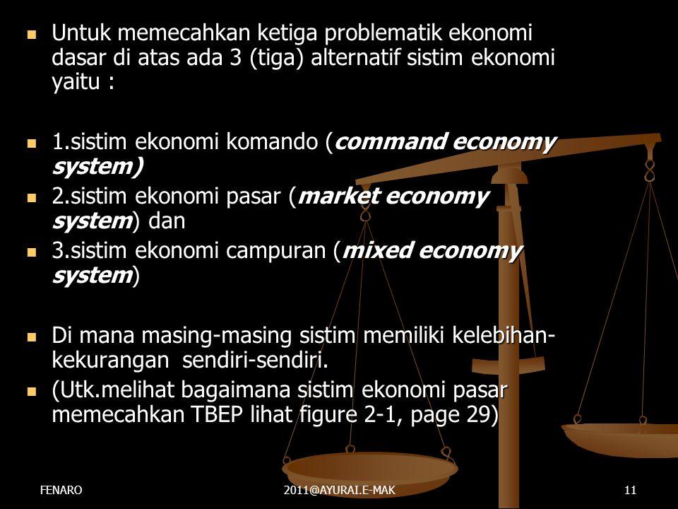  Untuk memecahkan ketiga problematik ekonomi dasar di atas ada 3 (tiga) alternatif sistim ekonomi yaitu :  1.sistim ekonomi komando (command economy