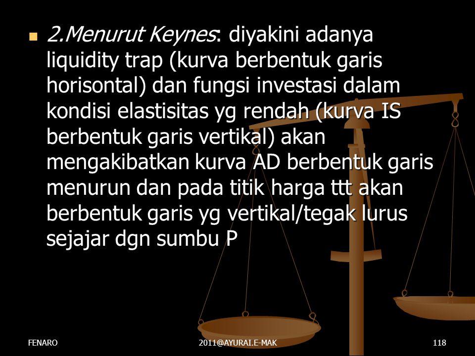  2.Menurut Keynes: diyakini adanya liquidity trap (kurva berbentuk garis horisontal) dan fungsi investasi dalam kondisi elastisitas yg rendah (kurva
