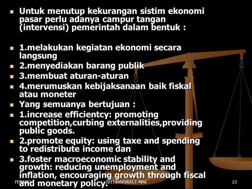  Untuk menutup kekurangan sistim ekonomi pasar perlu adanya campur tangan (intervensi) pemerintah dalam bentuk :  1.melakukan kegiatan ekonomi secar