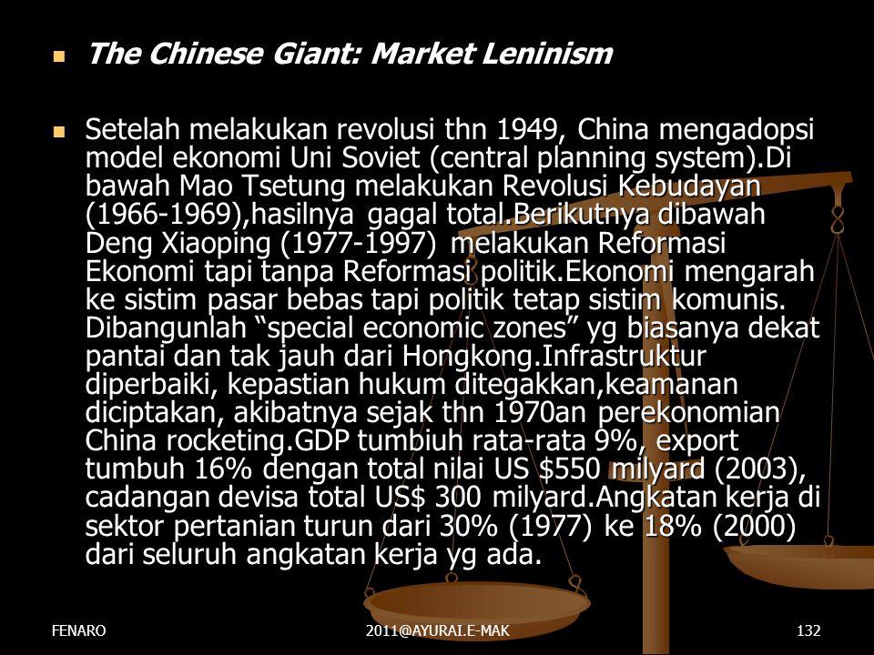  The Chinese Giant: Market Leninism  Setelah melakukan revolusi thn 1949, China mengadopsi model ekonomi Uni Soviet (central planning system).Di baw