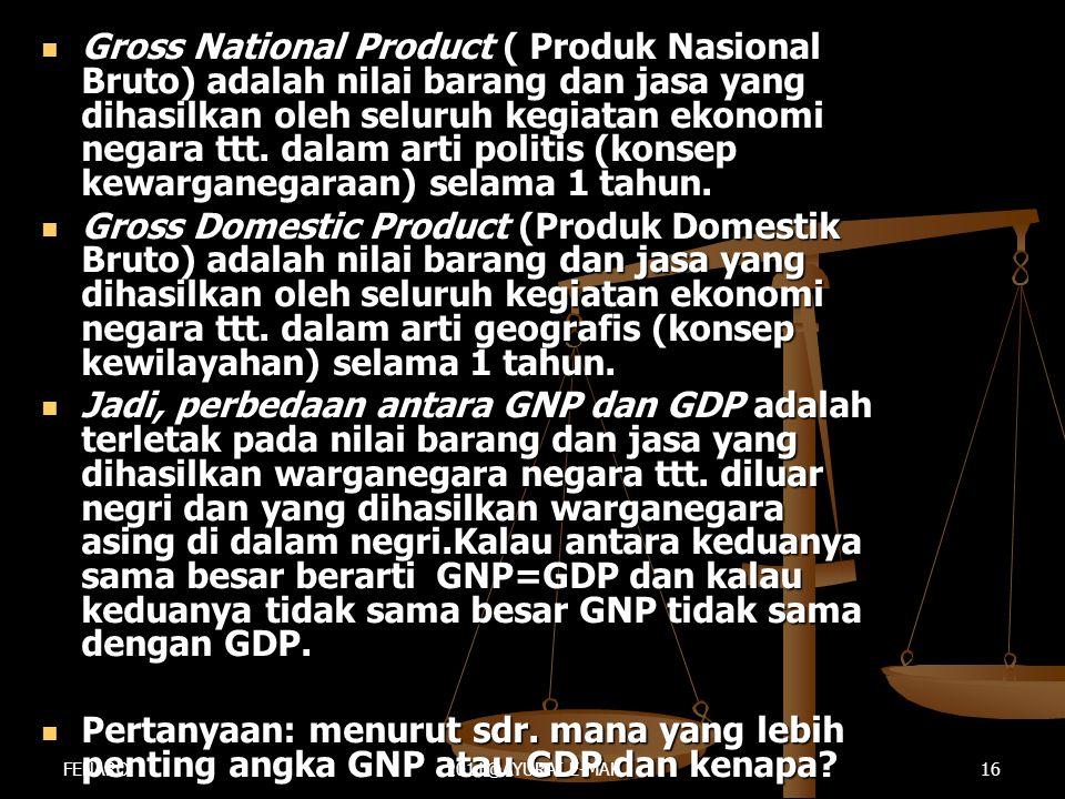  Gross National Product ( Produk Nasional Bruto) adalah nilai barang dan jasa yang dihasilkan oleh seluruh kegiatan ekonomi negara ttt. dalam arti po