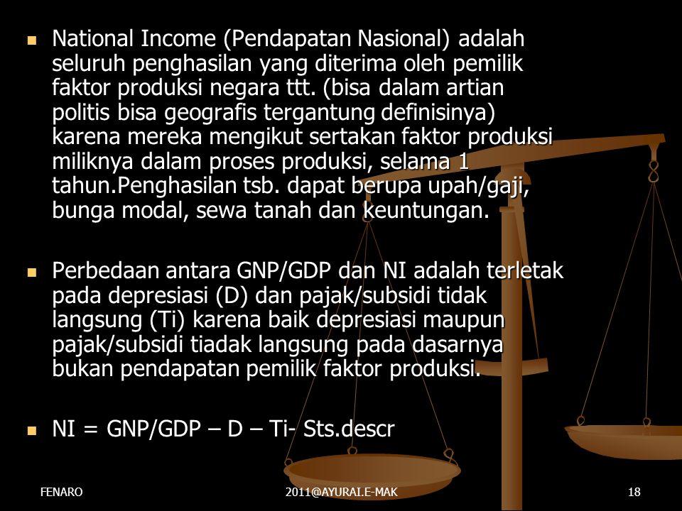  National Income (Pendapatan Nasional) adalah seluruh penghasilan yang diterima oleh pemilik faktor produksi negara ttt. (bisa dalam artian politis b