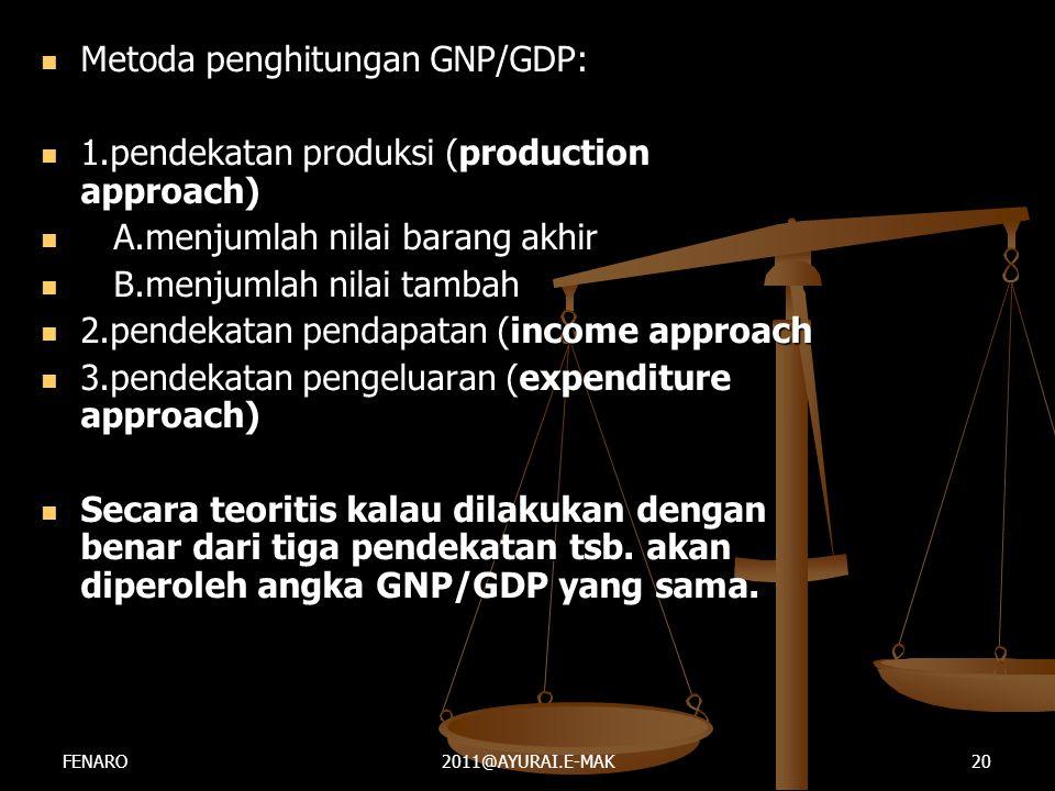  Metoda penghitungan GNP/GDP:  1.pendekatan produksi (production approach)  A.menjumlah nilai barang akhir  B.menjumlah nilai tambah  2.pendekata