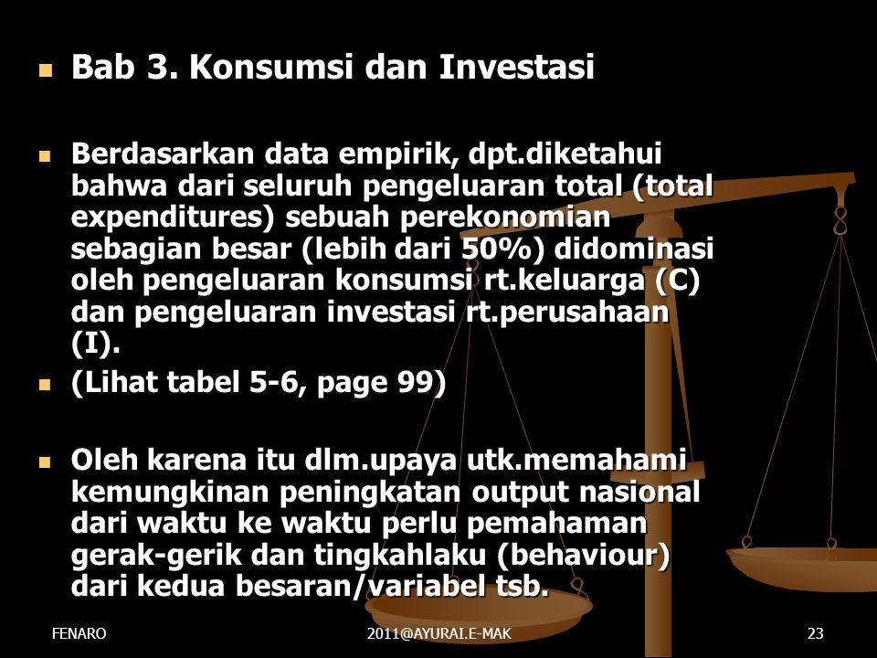  Bab 3. Konsumsi dan Investasi  Berdasarkan data empirik, dpt.diketahui bahwa dari seluruh pengeluaran total (total expenditures) sebuah perekonomia