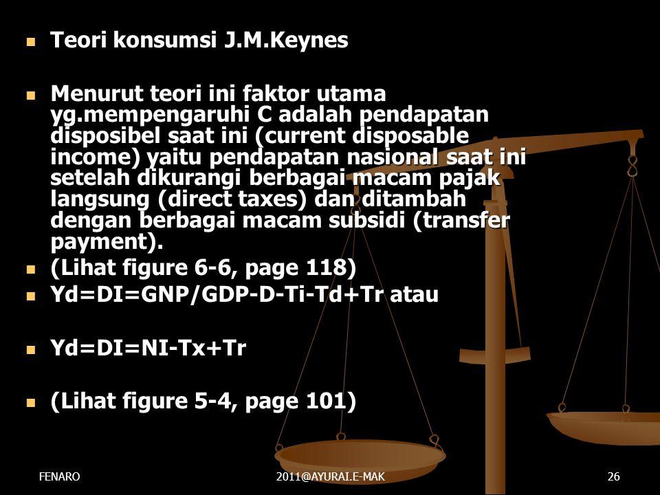  Teori konsumsi J.M.Keynes  Menurut teori ini faktor utama yg.mempengaruhi C adalah pendapatan disposibel saat ini (current disposable income) yaitu