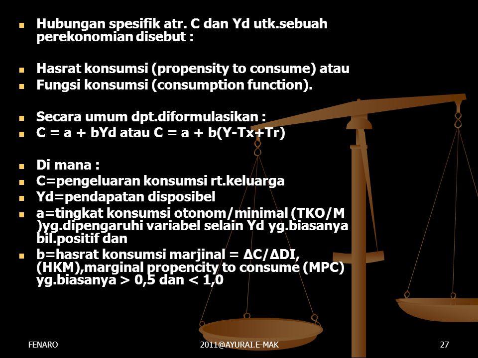  Hubungan spesifik atr. C dan Yd utk.sebuah perekonomian disebut :  Hasrat konsumsi (propensity to consume) atau  Fungsi konsumsi (consumption func