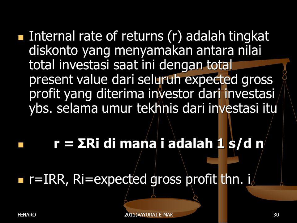  Internal rate of returns (r) adalah tingkat diskonto yang menyamakan antara nilai total investasi saat ini dengan total present value dari seluruh e