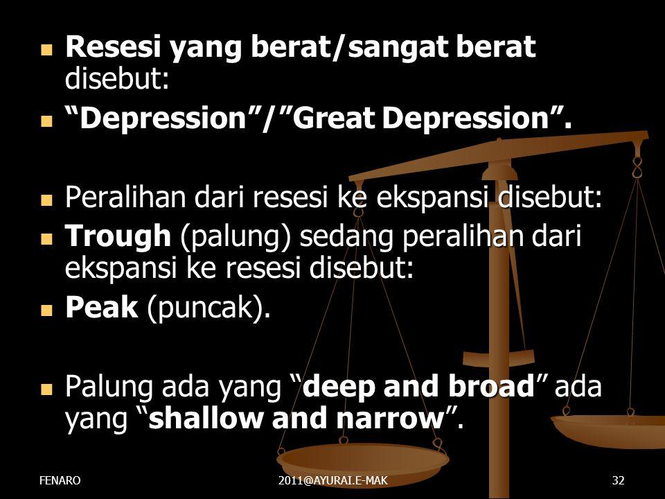 """ Resesi yang berat/sangat berat disebut:  """"Depression""""/""""Great Depression"""".  Peralihan dari resesi ke ekspansi disebut:  Trough (palung) sedang per"""
