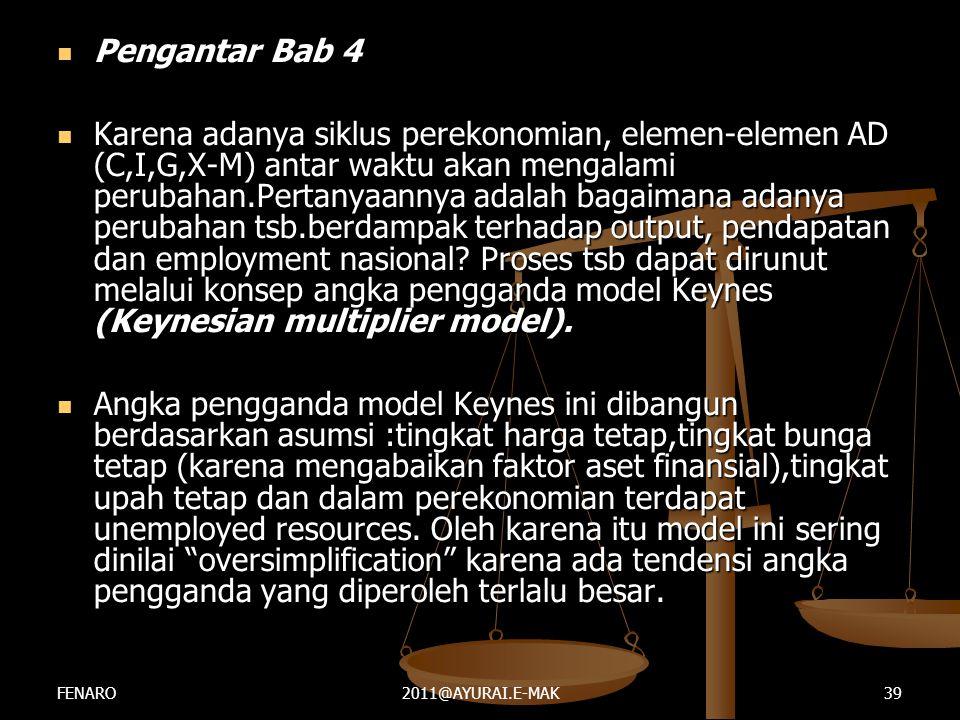  Pengantar Bab 4  Karena adanya siklus perekonomian, elemen-elemen AD (C,I,G,X-M) antar waktu akan mengalami perubahan.Pertanyaannya adalah bagaiman