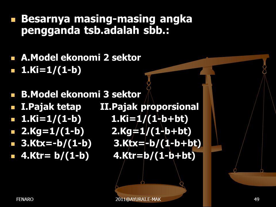  Besarnya masing-masing angka pengganda tsb.adalah sbb.:  A.Model ekonomi 2 sektor  1.Ki=1/(1-b)  B.Model ekonomi 3 sektor  I.Pajak tetap II.Paja