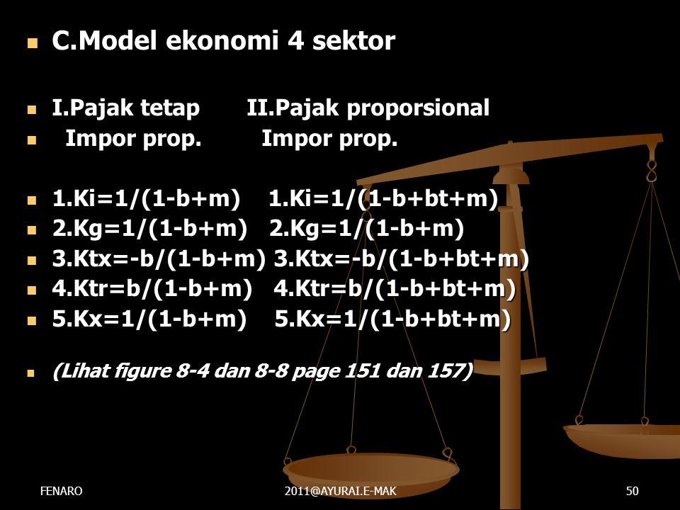  C.Model ekonomi 4 sektor  I.Pajak tetap II.Pajak proporsional  Impor prop. Impor prop.  1.Ki=1/(1-b+m) 1.Ki=1/(1-b+bt+m)  2.Kg=1/(1-b+m) 2.Kg=1/
