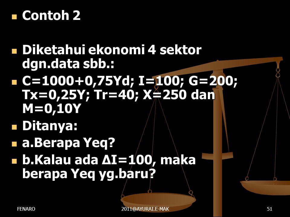  Contoh 2  Diketahui ekonomi 4 sektor dgn.data sbb.:  C=1000+0,75Yd; I=100; G=200; Tx=0,25Y; Tr=40; X=250 dan M=0,10Y  Ditanya:  a.Berapa Yeq? 