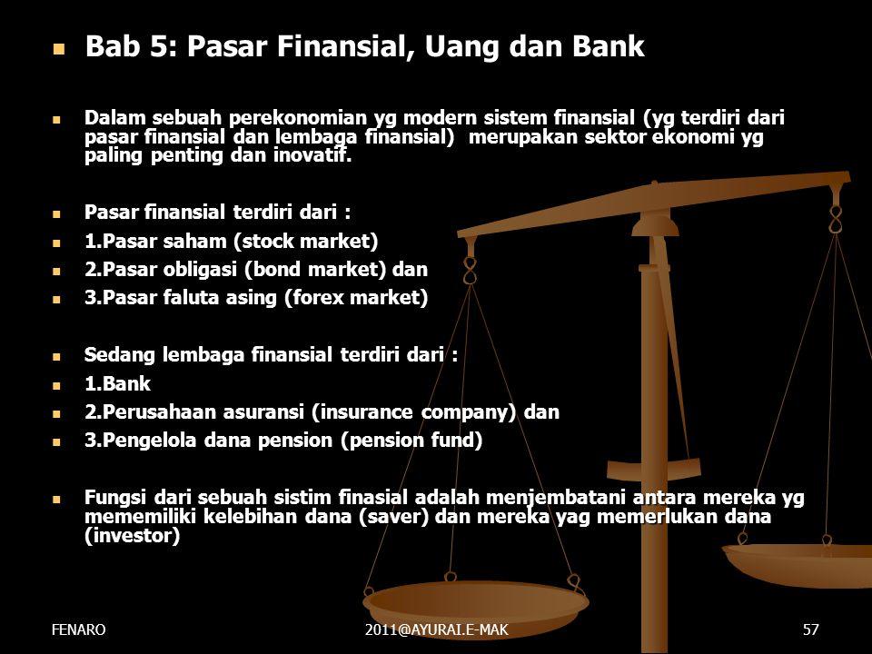  Bab 5: Pasar Finansial, Uang dan Bank  Dalam sebuah perekonomian yg modern sistem finansial (yg terdiri dari pasar finansial dan lembaga finansial)