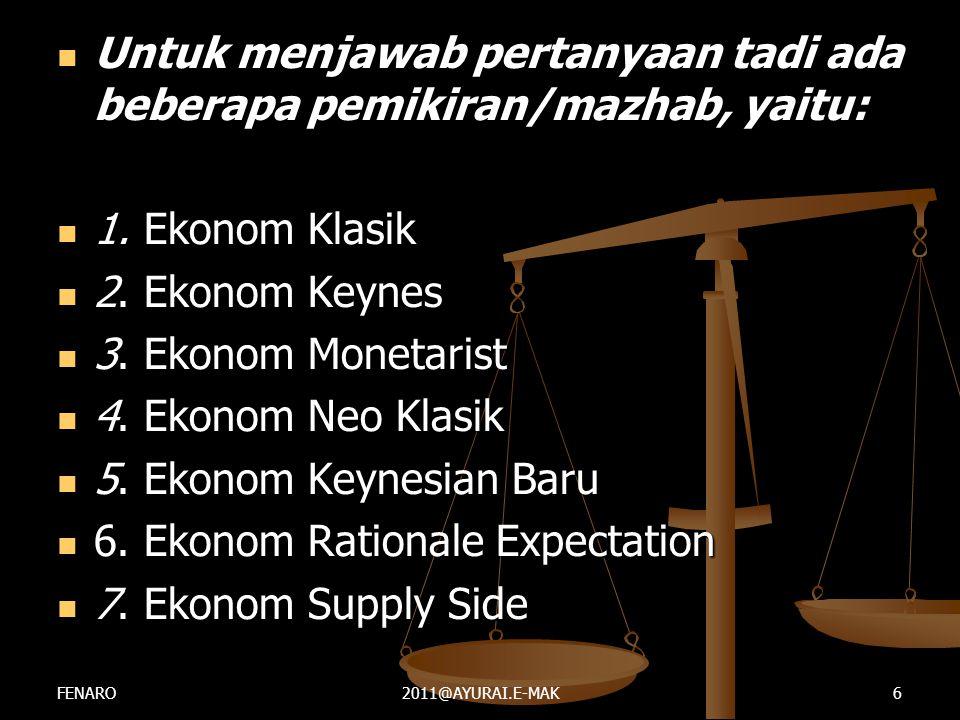  Untuk menjawab pertanyaan tadi ada beberapa pemikiran/mazhab, yaitu:  1. Ekonom Klasik  2. Ekonom Keynes  3. Ekonom Monetarist  4. Ekonom Neo Kl