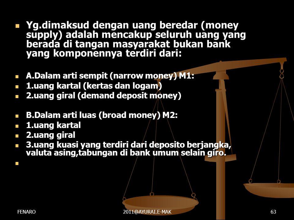  Yg.dimaksud dengan uang beredar (money supply) adalah mencakup seluruh uang yang berada di tangan masyarakat bukan bank yang komponennya terdiri dar