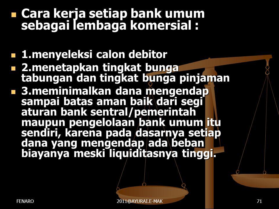  Cara kerja setiap bank umum sebagai lembaga komersial :  1.menyeleksi calon debitor  2.menetapkan tingkat bunga tabungan dan tingkat bunga pinjama