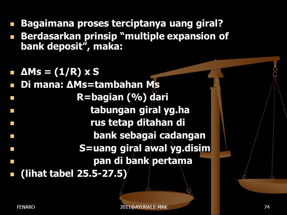 """ Bagaimana proses terciptanya uang giral?  Berdasarkan prinsip """"multiple expansion of bank deposit"""", maka:  ΔMs = (1/R) x S  Di mana: ΔMs=tambahan"""