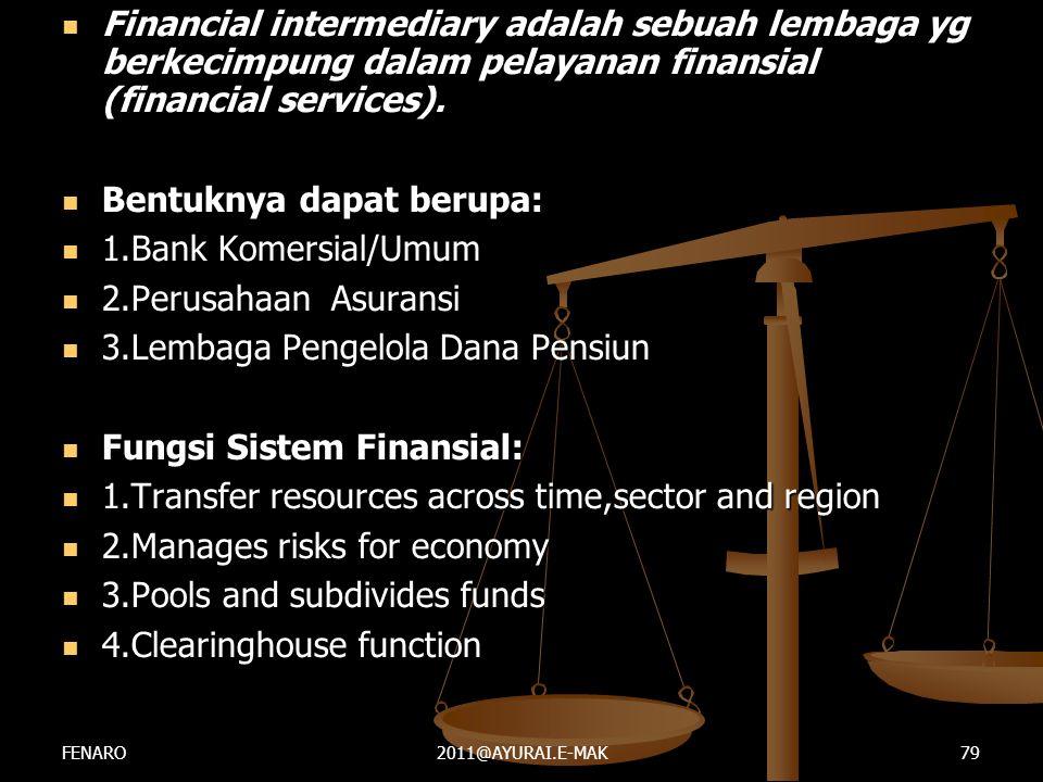  Financial intermediary adalah sebuah lembaga yg berkecimpung dalam pelayanan finansial (financial services).  Bentuknya dapat berupa:  1.Bank Kome