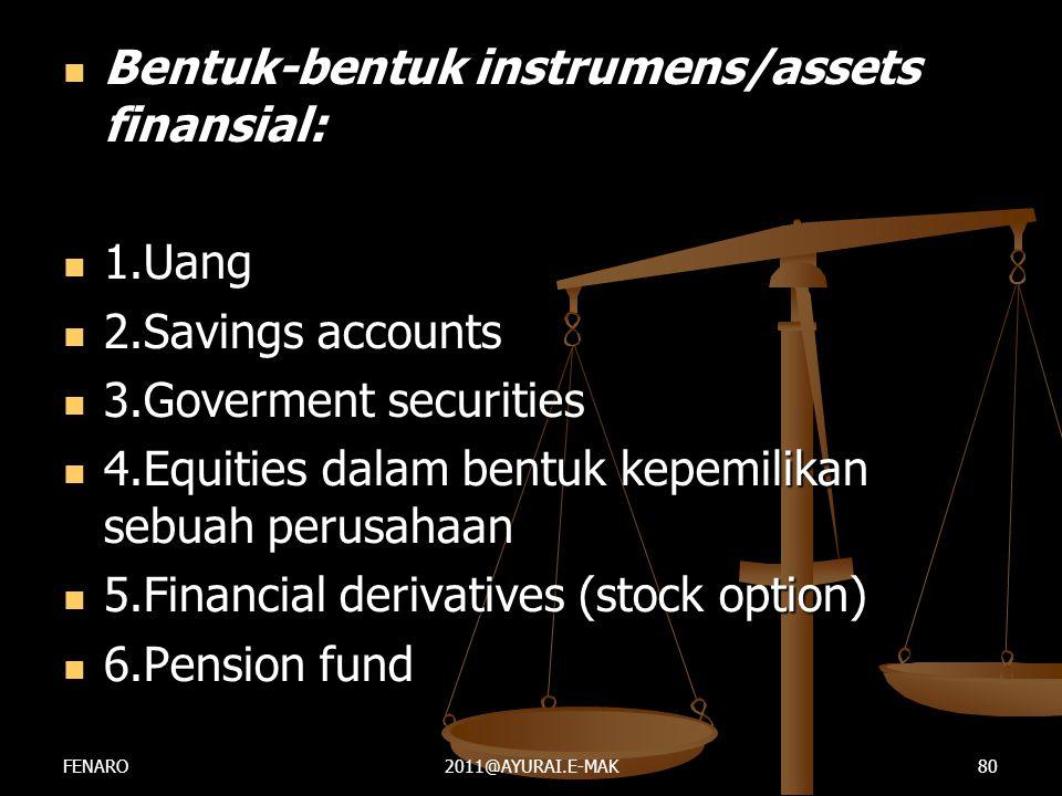  Bentuk-bentuk instrumens/assets finansial:  1.Uang  2.Savings accounts  3.Goverment securities  4.Equities dalam bentuk kepemilikan sebuah perus