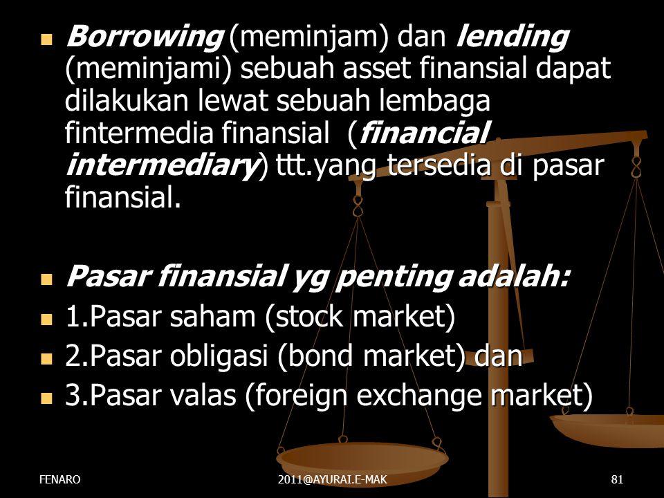  Borrowing (meminjam) dan lending (meminjami) sebuah asset finansial dapat dilakukan lewat sebuah lembaga fintermedia finansial (financial intermedia