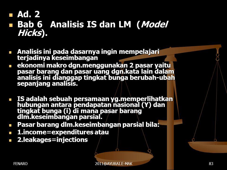  Ad. 2  Bab 6 Analisis IS dan LM (Model Hicks).  Analisis ini pada dasarnya ingin mempelajari terjadinya keseimbangan  ekonomi makro dgn.menggunak