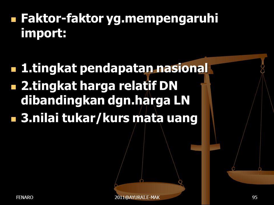  Faktor-faktor yg.mempengaruhi import:  1.tingkat pendapatan nasional  2.tingkat harga relatif DN dibandingkan dgn.harga LN  3.nilai tukar/kurs ma