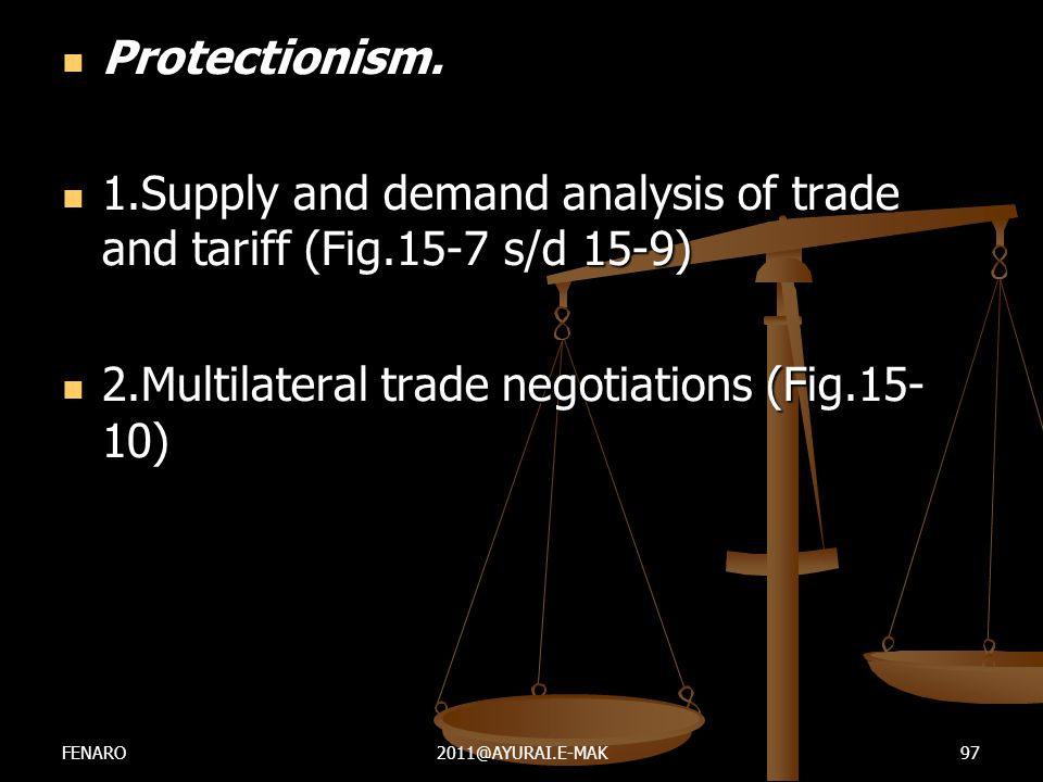  Protectionism.  1.Supply and demand analysis of trade and tariff (Fig.15-7 s/d 15-9)  2.Multilateral trade negotiations (Fig.15- 10) FENARO2011@AY