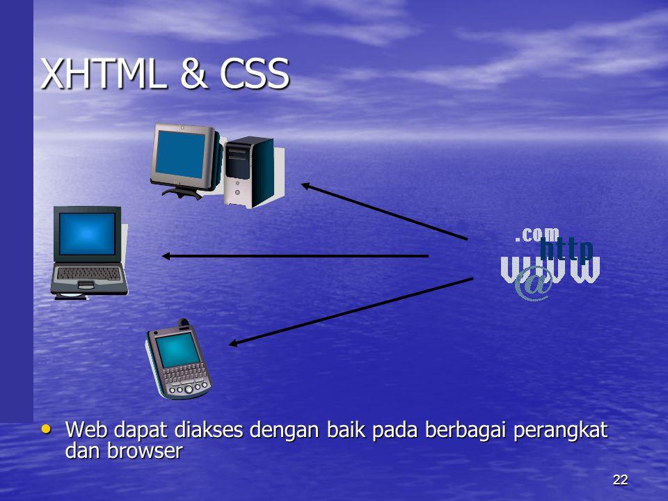 22 XHTML & CSS • Web dapat diakses dengan baik pada berbagai perangkat dan browser