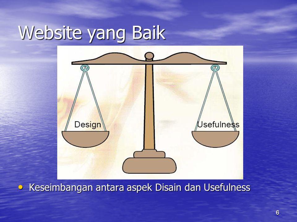 6 Website yang Baik • Keseimbangan antara aspek Disain dan Usefulness