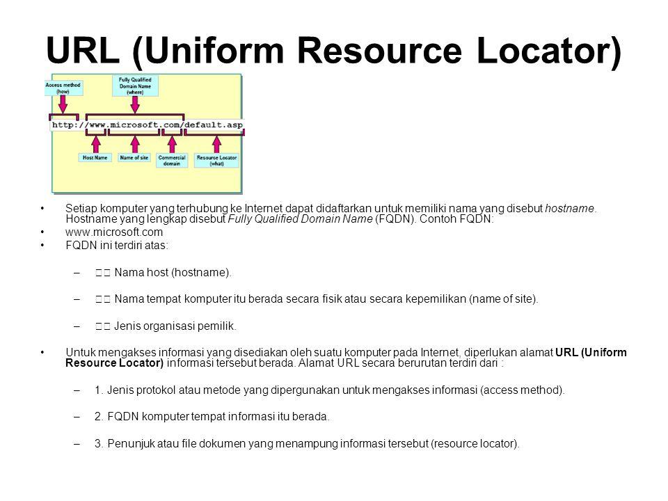URL (Uniform Resource Locator) •Setiap komputer yang terhubung ke Internet dapat didaftarkan untuk memiliki nama yang disebut hostname.