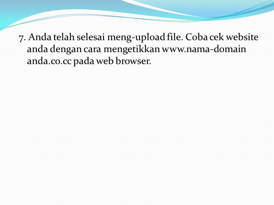 5. Selanjutnya klik tombol upload 6. Masukkan file-file yang ingin anda upload. Dapat satu persatu atau disimpan dalam bentuk.zip,.tar,dll. Kemudian k