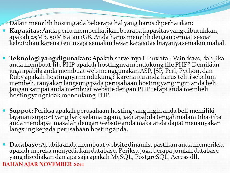 PENGERTIAN HOSTING Hosting atau biasa disebut sebagai web hosting adalah layanan penyewaan ruang simpan data (space) yang digunakan untuk menyimpan da