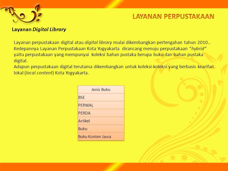 Layanan Digital Library Layanan perpustakaan digital atau digital library mulai dikembangkan pertengahan tahun 2010.. Kedepannya Layanan Perpustakaan