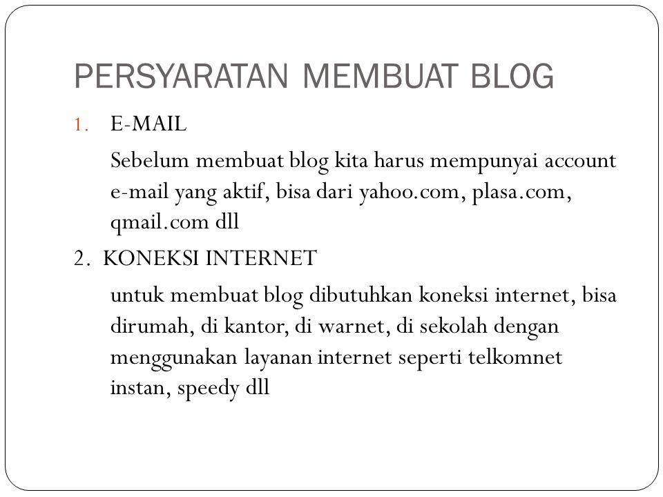 Tampilan dari dasbor blog anda