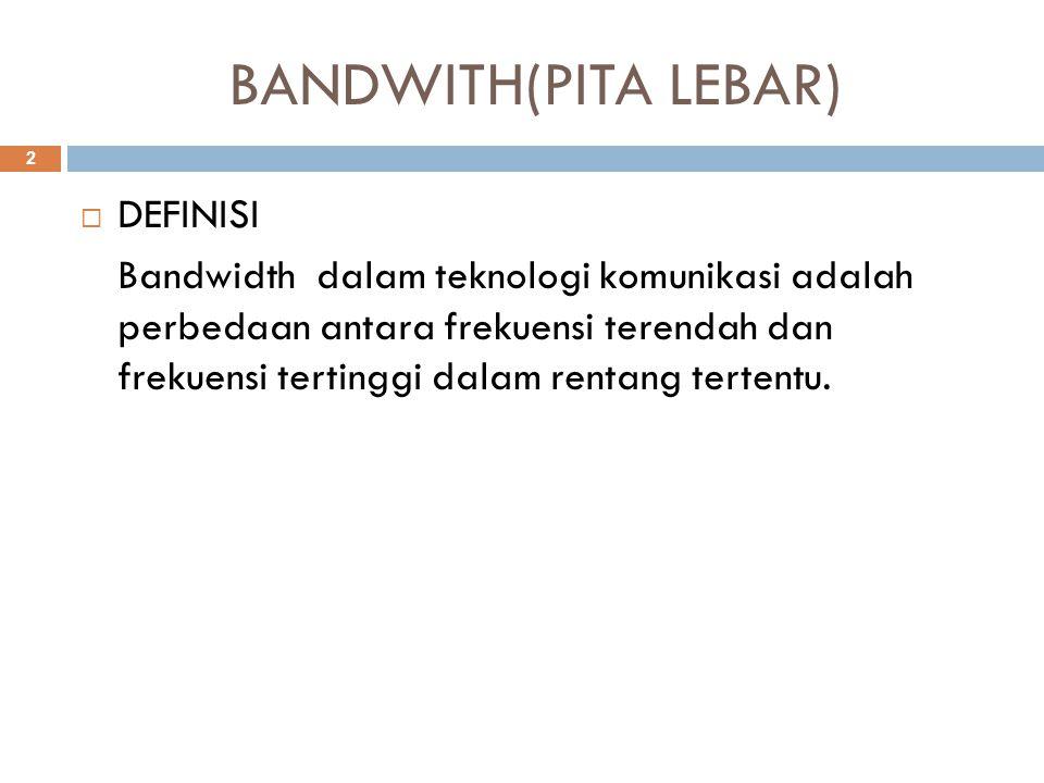 BANDWITH(PITA LEBAR)  DEFINISI Bandwidth dalam teknologi komunikasi adalah perbedaan antara frekuensi terendah dan frekuensi tertinggi dalam rentang