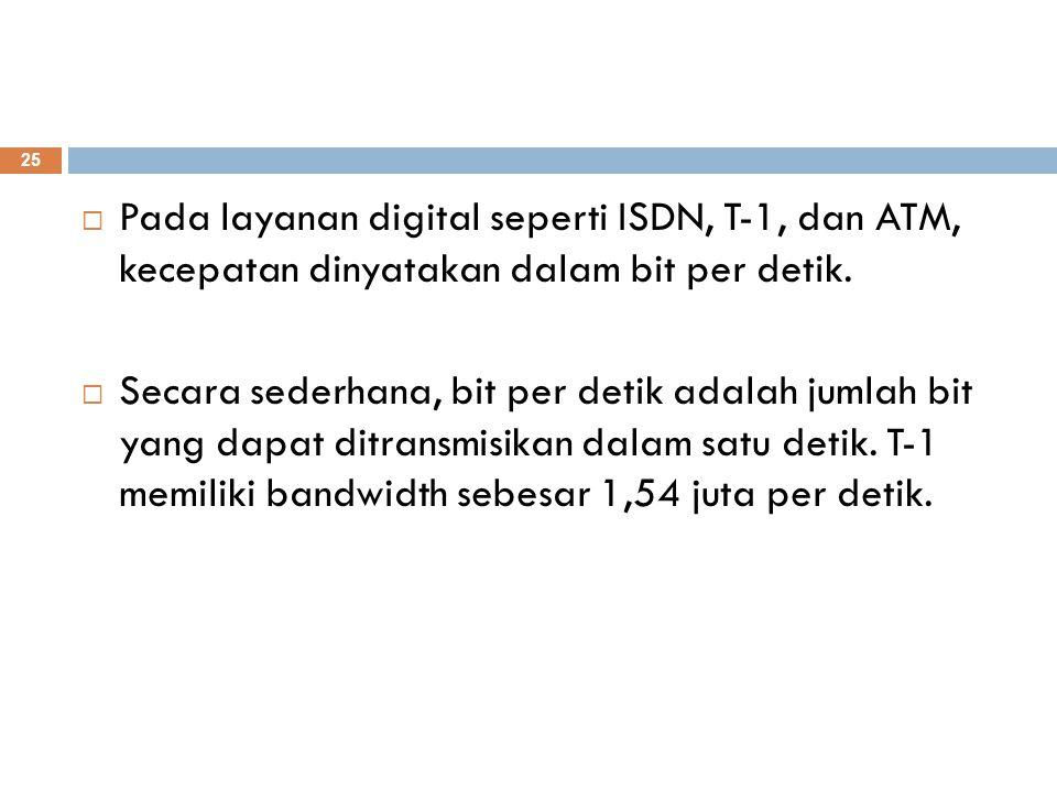  Pada layanan digital seperti ISDN, T-1, dan ATM, kecepatan dinyatakan dalam bit per detik.  Secara sederhana, bit per detik adalah jumlah bit yang