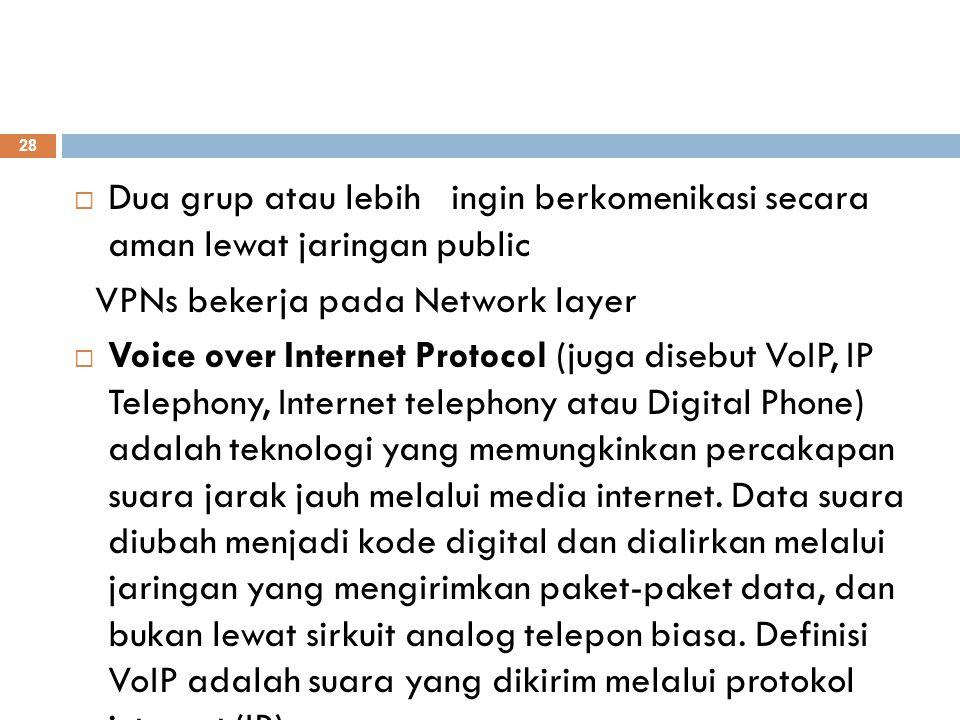  Dua grup atau lebih ingin berkomenikasi secara aman lewat jaringan public VPNs bekerja pada Network layer  Voice over Internet Protocol (juga diseb