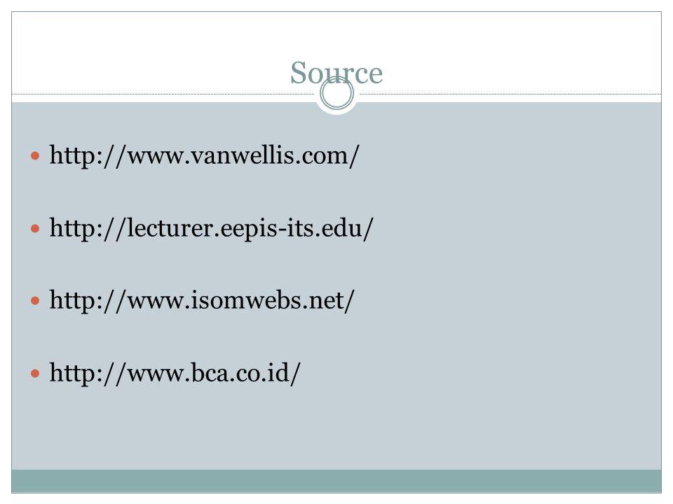Source  http://www.vanwellis.com/  http://lecturer.eepis-its.edu/  http://www.isomwebs.net/  http://www.bca.co.id/