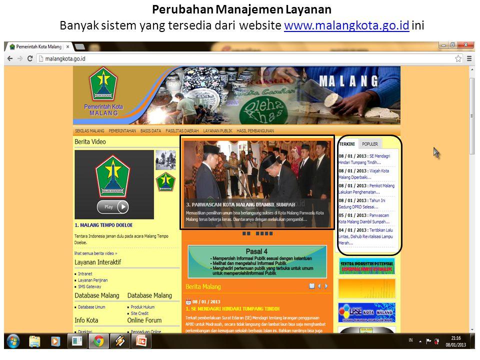 Perubahan Manajemen Layanan Banyak sistem yang tersedia dari website www.malangkota.go.id iniwww.malangkota.go.id