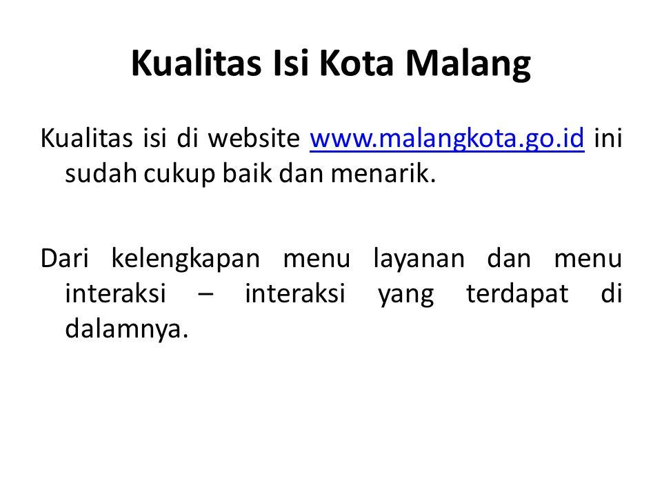 Kualitas Isi Kota Malang Kualitas isi di website www.malangkota.go.id ini sudah cukup baik dan menarik.www.malangkota.go.id Dari kelengkapan menu laya