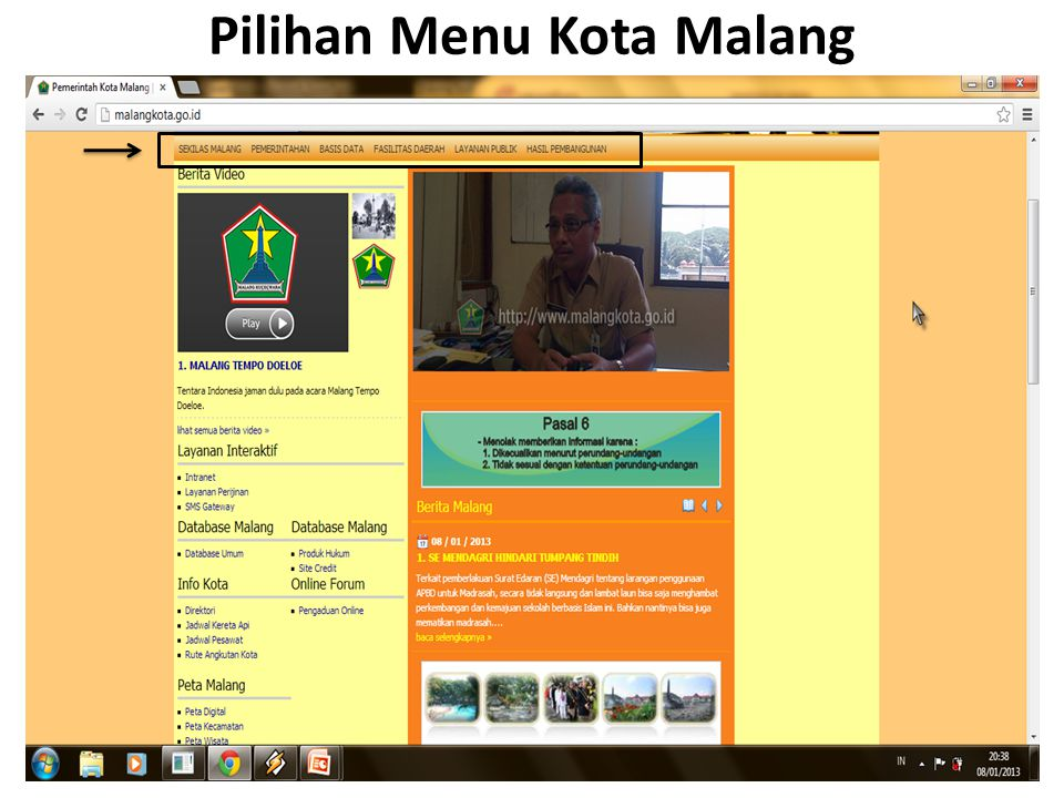 Kolaborasi Untuk kolaborasi dengan e.gov lain yang terdapat dalam website www.malangkota.go.id ini adalah situs resmi dari Pemerintahan Kota Malang sendiri.