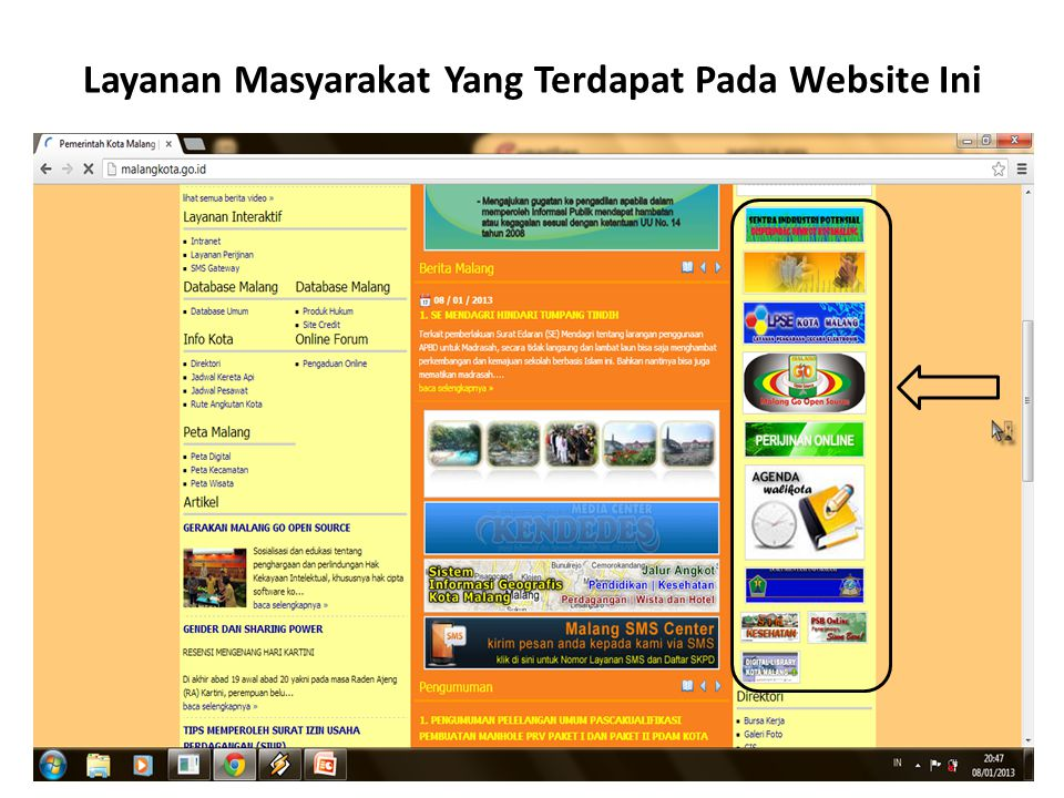 Layanan Masyarakat Yang Terdapat Pada Website Ini