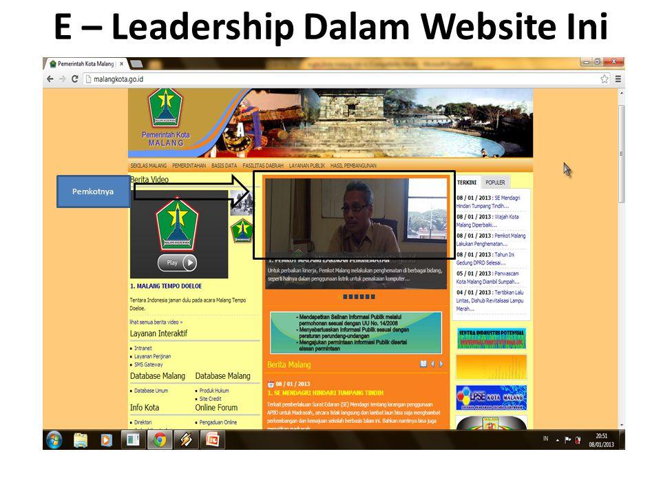 E – Leadership Dalam Website Ini Pemkotnya