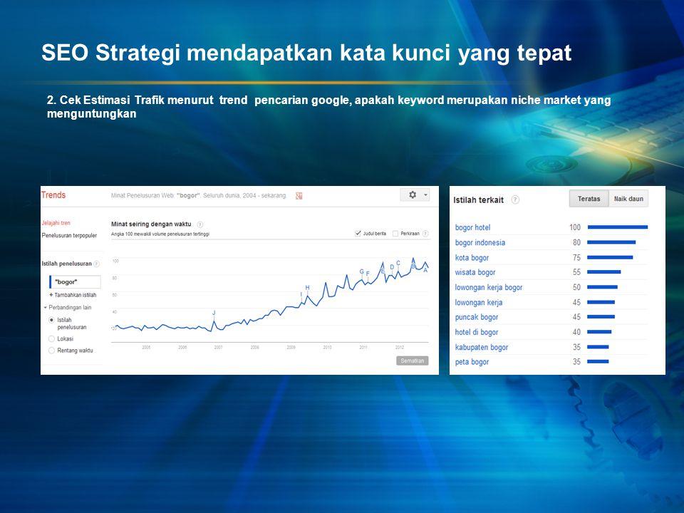 2. Cek Estimasi Trafik menurut trend pencarian google, apakah keyword merupakan niche market yang menguntungkan SEO Strategi mendapatkan kata kunci ya