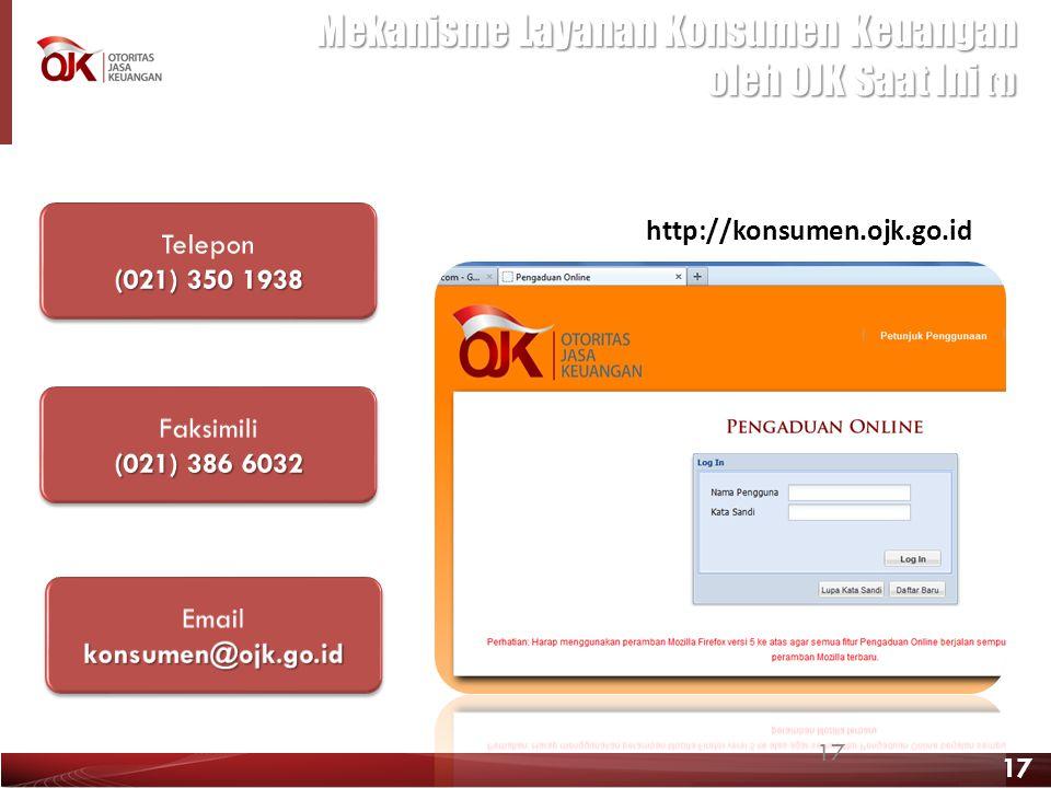 17 Mekanisme Layanan Konsumen Keuangan oleh OJK Saat Ini (1) http://konsumen.ojk.go.id 17