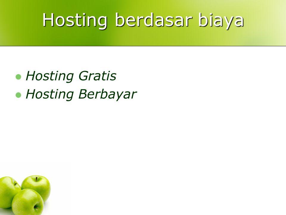 Hosting berdasar biaya  Hosting Gratis  Hosting Berbayar