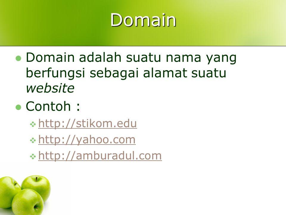 Domain  Domain = URL (Uniform Resource Locator)  Nama domain suatu website tidak boleh sama persis dengan nama domain website lain  Format penulisan domain website biasanya adalah http://nama-domain atau https://nama-domainhttp://nama-domainhttps://nama-domain