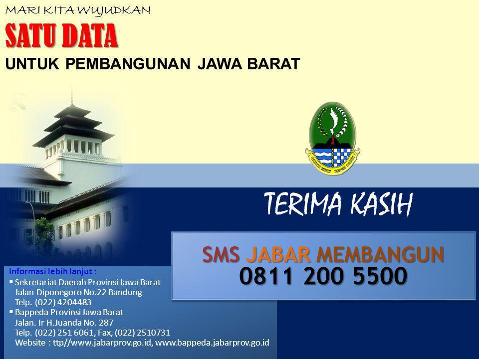 TERIMA KASIH MARI KITA WUJUDKAN SATU DATA UNTUK PEMBANGUNAN JAWA BARAT Informasi lebih lanjut :  Sekretariat Daerah Provinsi Jawa Barat Jalan Diponegoro No.22 Bandung Telp.