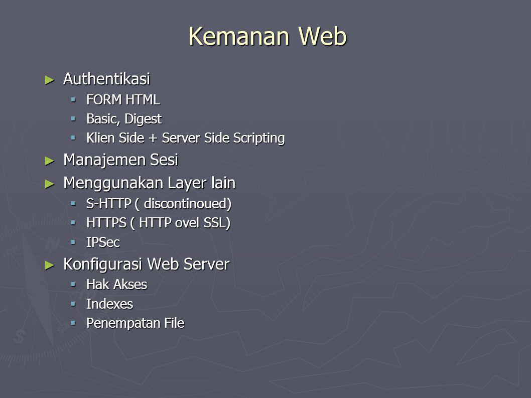 Kemanan Web ► Authentikasi  FORM HTML  Basic, Digest  Klien Side + Server Side Scripting ► Manajemen Sesi ► Menggunakan Layer lain  S-HTTP ( discontinoued)  HTTPS ( HTTP ovel SSL)  IPSec ► Konfigurasi Web Server  Hak Akses  Indexes  Penempatan File